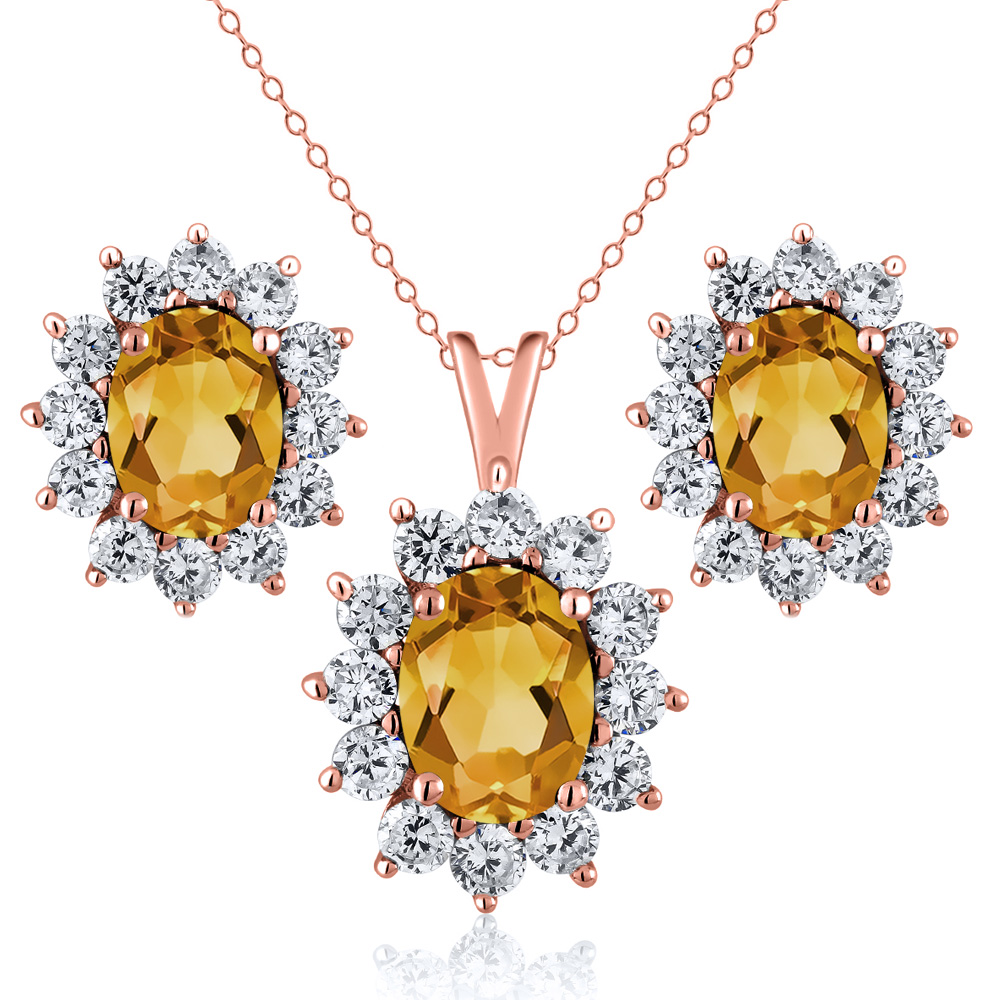 2.50 Ct Oval Yellow Citrine 18K Rose Gold Plated Silver Pendant Earrings Set by