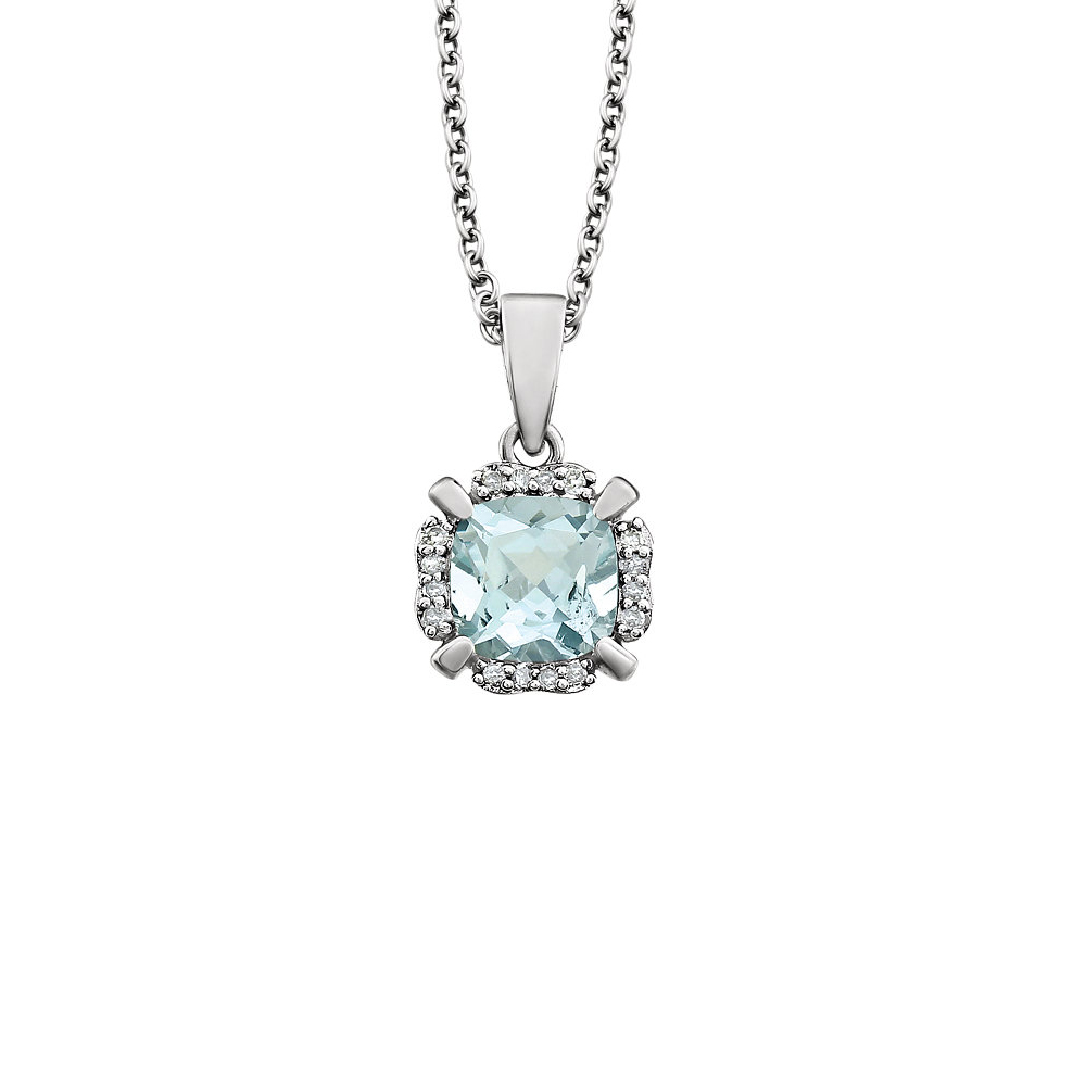 Cushion Aquamarine & Diamond Necklace in 14K White Gold, 18 Inch by Black Bow Jewelry Company