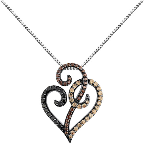 1.52 Carat T.G.W. Black, Brown and Champagne CZ Sterling Silver Heart Pendant, 18""