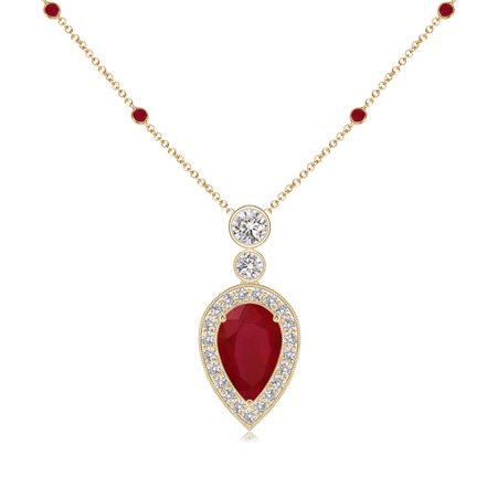 July birthstone pendant necklaces pear shaped ruby necklace july birthstone pendant necklaces pear shaped ruby necklace pendant with diamond halo in 14k yellow aloadofball Gallery