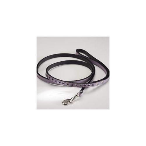 Zuri Collection 092145348888 Leash, Purple Leather, Dk.  Purple Swarovski Crystal 4 Ft. , 0. 75 inch Width