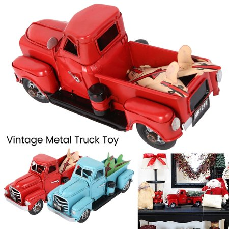 Christmas Red Metal Truck Kids Gift Vintage Truck with Movable Wheel Table Decor ()