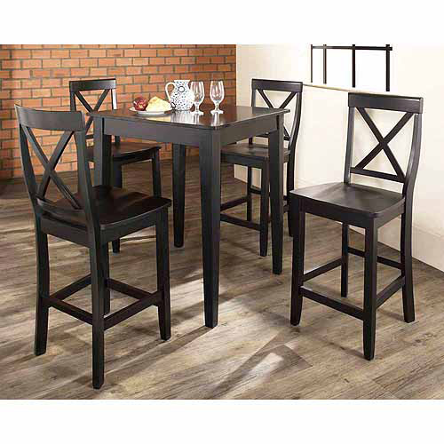 Crosley Furniture 5-Piece Pub Dining Set with Tapered Leg and X-Back Stools
