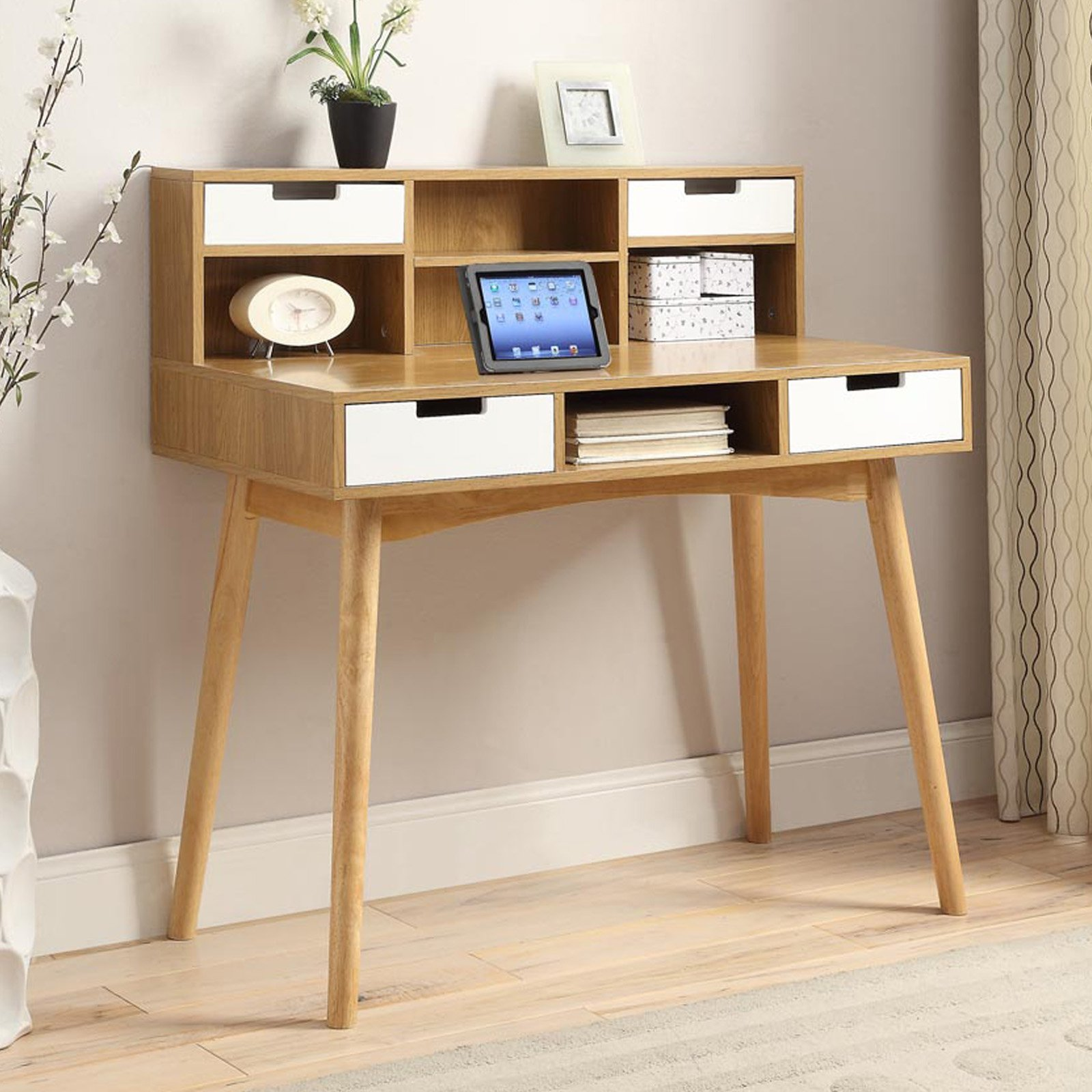 Convenience Concepts Oslo Deluxe Desk With Hutch White