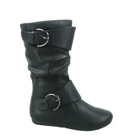New Ladies Brown Wedge Heel - Klein-80k Girls Kid's Causal Round Toe Flat Heel Buckles Zipper Slouchy Mid Calf Boots Shoes