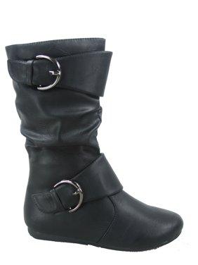 Klein-80k Girls Kid's Causal Round Toe Flat Heel Buckles Zipper Slouchy Mid Calf Boots Shoes
