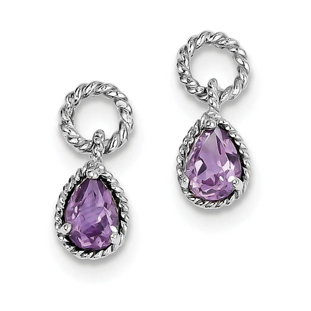 Sterling Silver 0.6IN Long Amethyst Pear Twisted Earrings