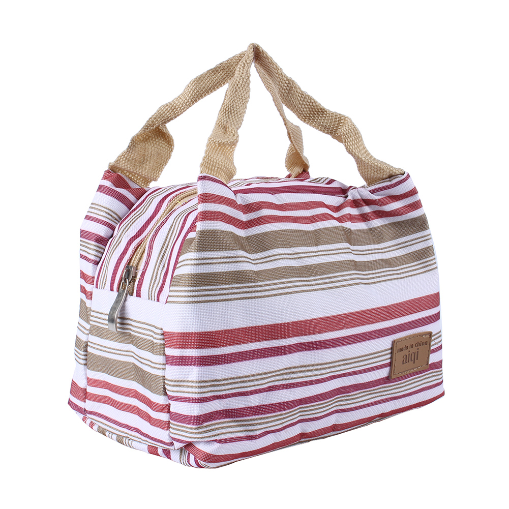 Reusable Striped Lunch Bag Tote Bag Lunch Organizer with Fully lined thermal insulated