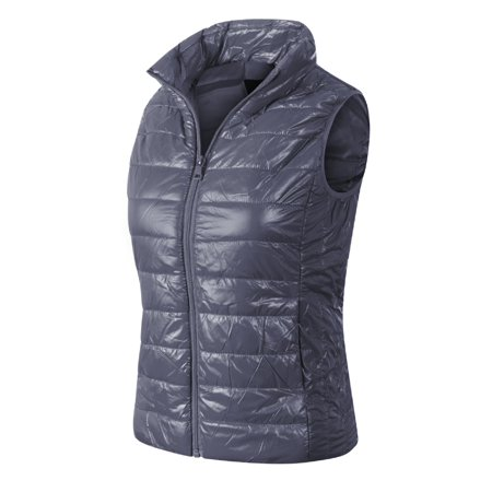 Made by Olivia Women's Casual Warm Lightweight Packable Down Quilted Puffer Vest Coat Jacket (S-3X) Dark Grey