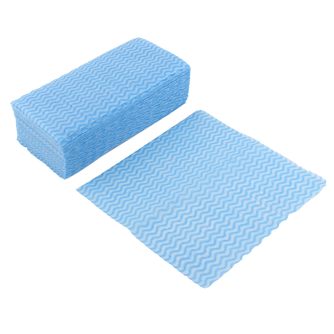 Unique Bargains 80pcs Family Kitchen White Blue Non Woven Fabric Disposable Cleaning Cloth Washcloth