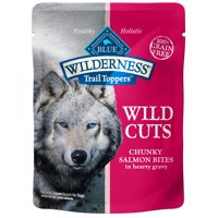 Blue Buffalo Wilderness Trail Toppers Chunky Salmon Bites Grain Free Wet Dog Food, 3-oz pouch, Case of 24