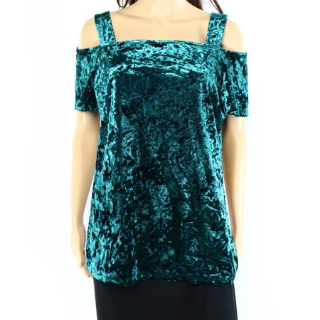 INC NEW Hunter Forest Green Womens Size XS Velvet Cold-Shoulder Blouse