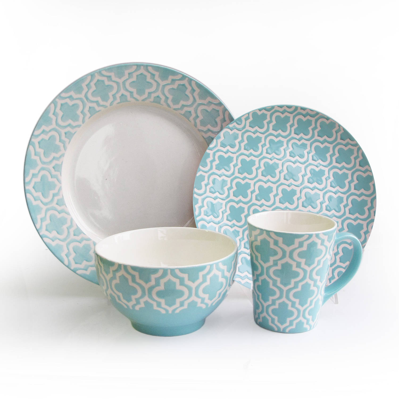 Quatre Teal 16-Piece Dinnerware Set
