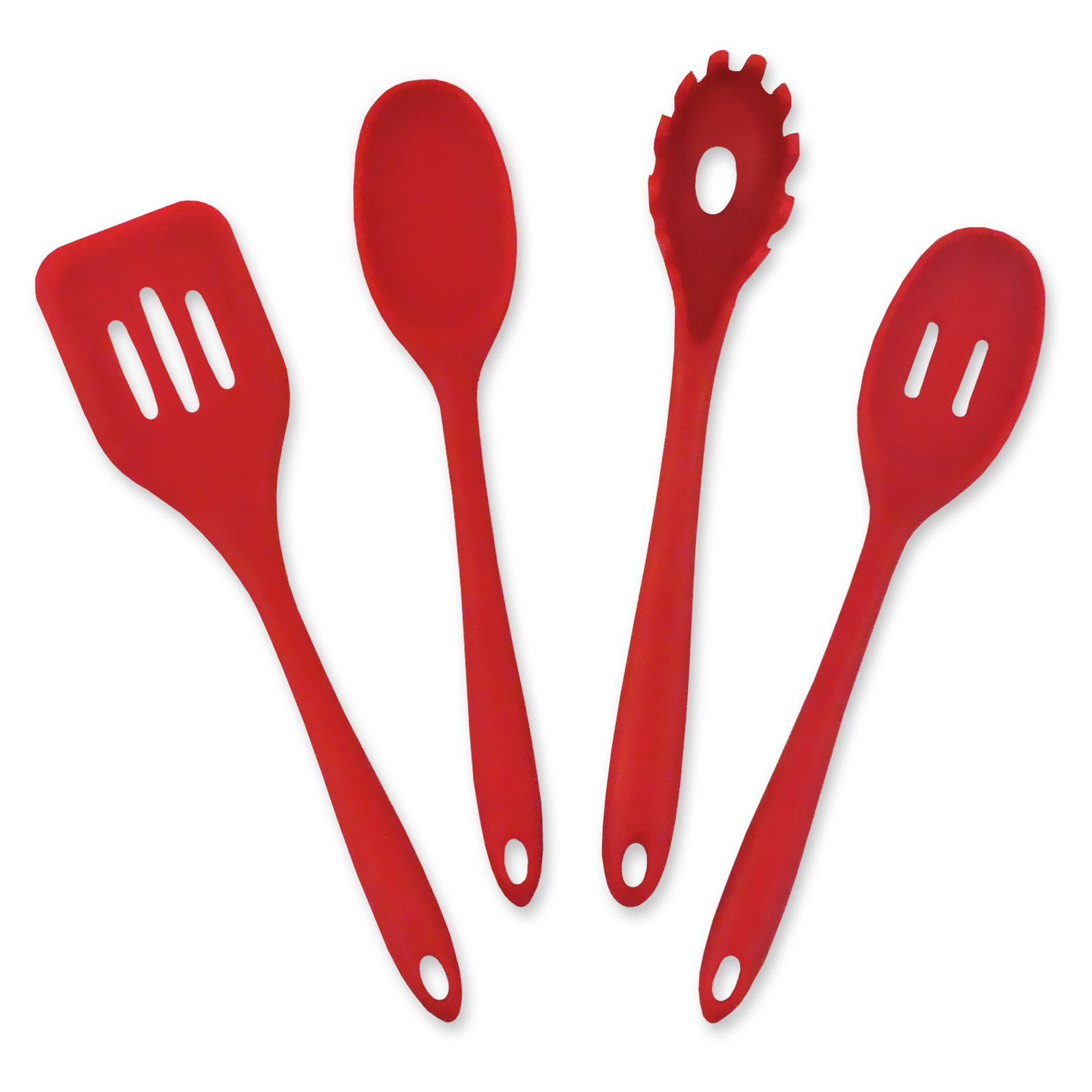 Red 4 piece kitchen cooking set - includes 1 slotted turner, 1 slotted spoon, 1 spoon and one spaghetti spoon.