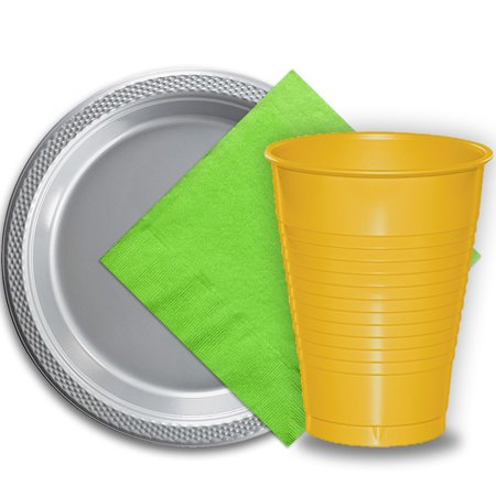 50 Silver Plastic Plates 9 50 Yellow Plastic Cups 12 Oz And