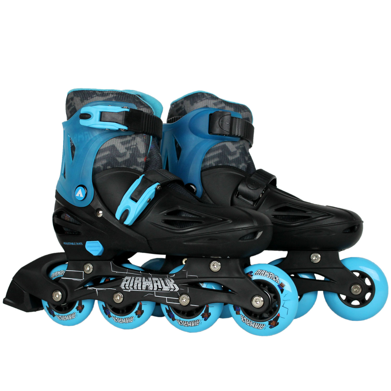 AIRWALK Youth Inline Skates TRITON BLACK/BLUE LARGE 4-7 Adjustable Rollerblades