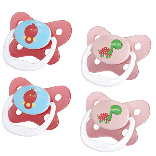 Dr. Brown's PreVent Contour Pacifier, Stage 3 (12m+), Pink, 4 Count