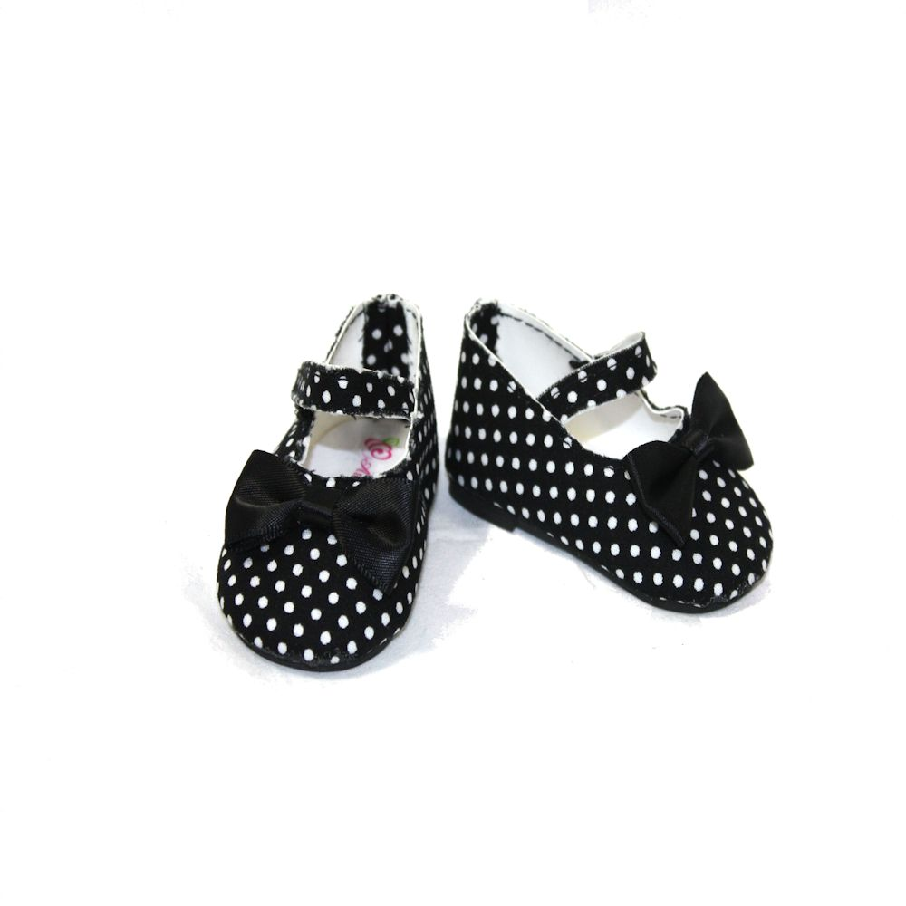 Dream Big Wholesale Doll Clothes Arianna Polka Dot Black Mary Jane