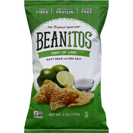 Beanitos Hint of Lime Navy Bean with Sea Salt Bean Chips, 6 oz, (Pack of 6) White Classic Chip