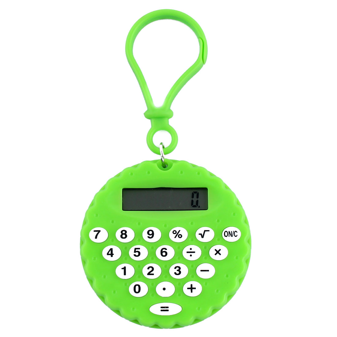 Plastic Biscuit Shape Portable LCD Display 8 Digits Calculator Key Chain Green