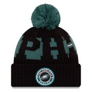 Philadelphia Eagles New Era Youth 2020 NFL Sideline Sport Pom Cuffed Knit Hat - Midnight Green/Black - OSFA