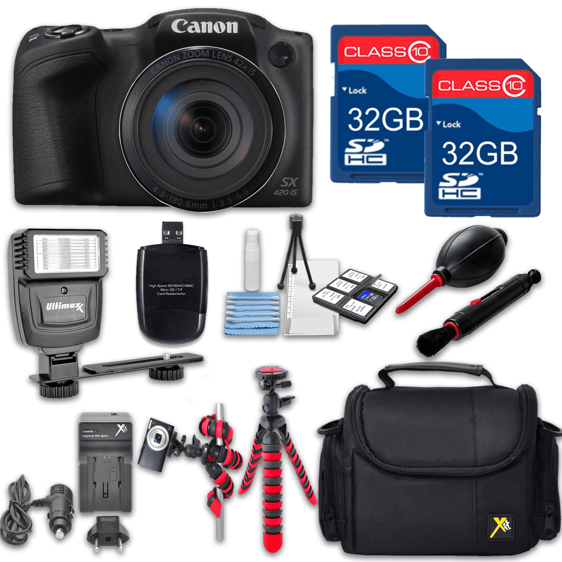 Canon Powershot SX420 (Black) HS Point and Shoot Digital Camera, W/ Case + 64GB Memory + Flash + Tripod + Case + Cleaning Kit + More