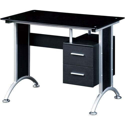 Techni Mobili Glass Top Home Office Desk, Black