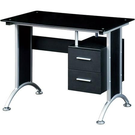 techni mobili glass top home office desk black black home office desk