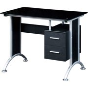 Techni Mobili Glass Top Home Office Desk, Black