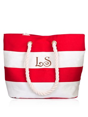 Personalized Large Red Canvas Beach Tote Bag w/Laser Engraved Initial