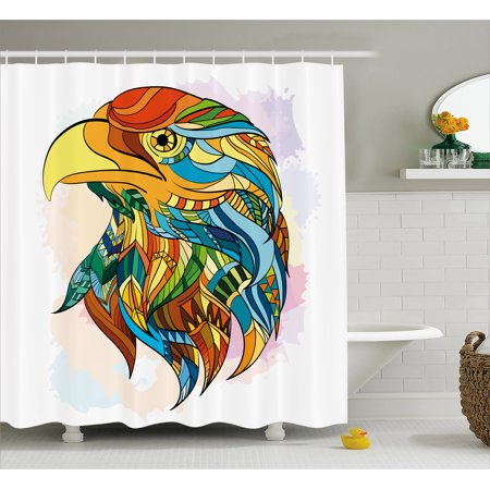 Eagle Shower Curtain Ethnic Inspired Bald Pattern With Oriental Color Scheme Flying Animal Design