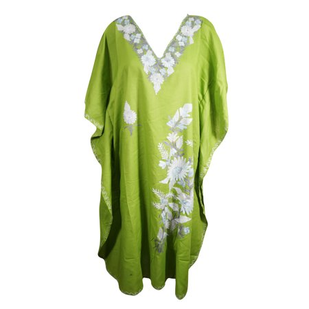 Mogul Womens Maxi Caftan Cotton Embellished BLUE Floral Stylish Resort Wear Kimono Lounger Cover Up Kaftans One