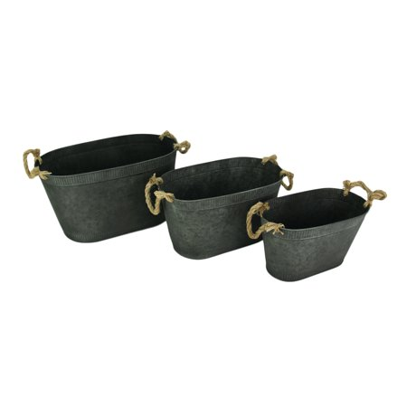 Rustic Galvanized 3 Piece Set of Oval Buckets with Rope Handles - image 2 de 2