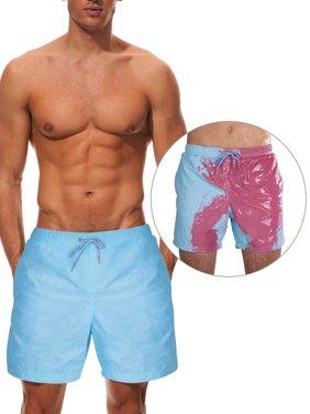 Men's Color-changing Swimsuits Swim Shorts Beach Swim Trunks Bathing Suits Summer Holiday Drawstring Boardshorts