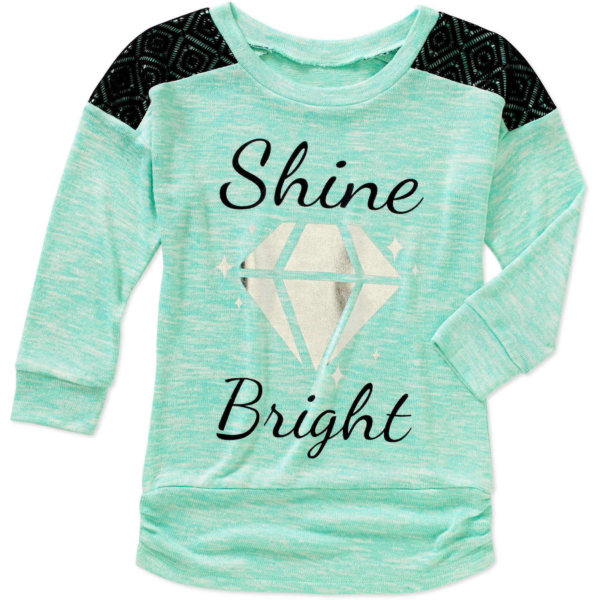 Miss Chievous Girls' 3/4 Raglan Sleeve Shine Bright Tunic with Crochet Shoulder