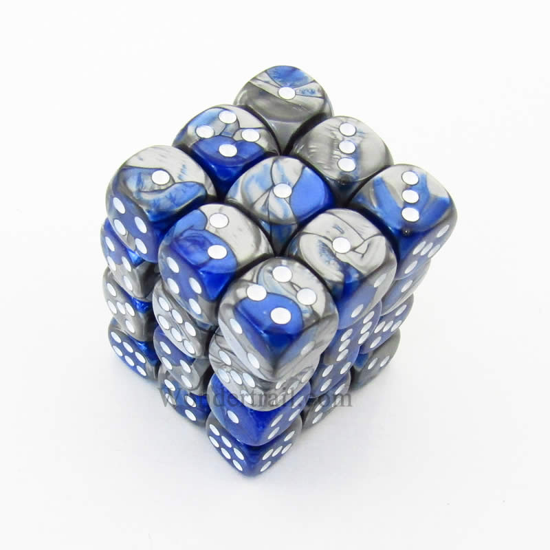 Blue and Steel Gemini Dice with White Pips D6 12mm (1/2in) Pack of 36 Chessex