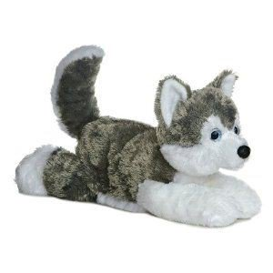 Shadow Siberian Husky Flopsie Dog Stuffed Animal by Aurora Plush (31453)