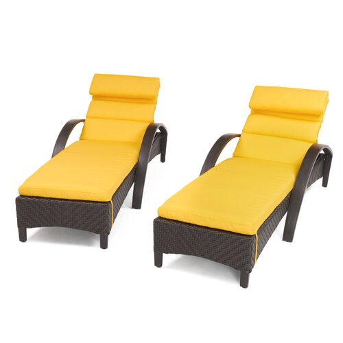 Sol 72 Outdoor Cerralvo Contemporary Reclining Chaise Lounge with Sunbrella Cushion (Set of 2)