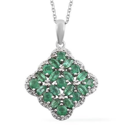 """Shop LC 925 Sterling Silver Round AAA Emerald White Zircon Necklace Rhodium Plated Pendant Wedding Bridal Anniversary Engagement Jewelry For Women Size 18"""" Ct 1.6"""