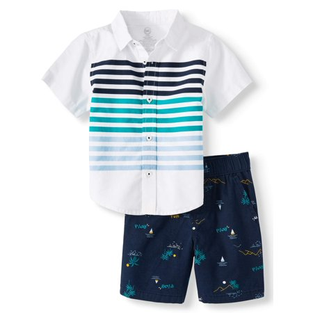 Short Sleeve Button Down & Shorts, 2pc Outfit Set (Toddler - Incredible Outfit