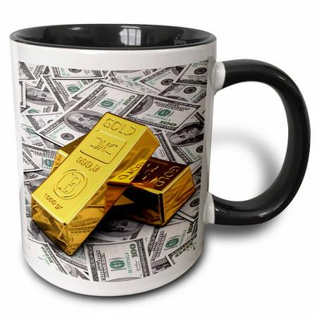 3dRose Gold bars bar bullion cash money dollar hundred bill bills bank note banknote finance concept - Two Tone Black Mug,