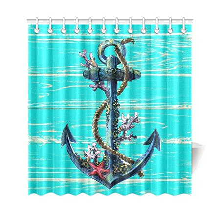 GCKG Nautical Anchor Shower Curtain 66x72 Inches Waterproof Polyester Fabric Bathroom Sets Home Decor - image 3 de 3