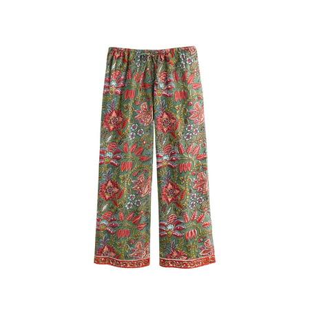 Women's Floral Vines Pajamas - PJ Top Shirt and Lounge Pants Set (Lounge Wear For Women)