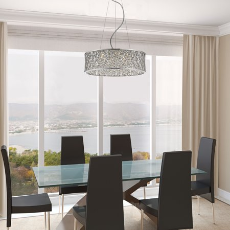 6 Led Monopoint Pendant (Vada 6 Light LED Steel Drum Pendant with Crystals)
