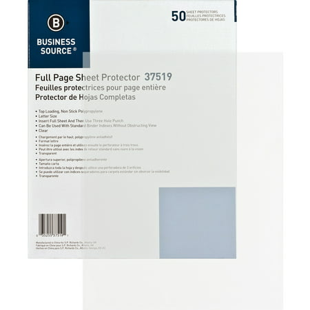 Business Source, BSN37519, Full Sheet Top Load Poly Sheet Protectors, 50 / Box, Clear Oxford Top Load Sheet