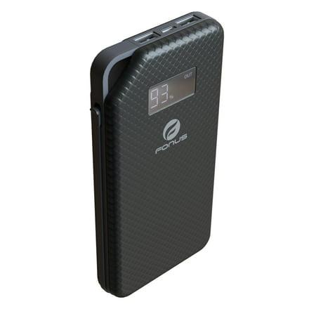 Slim 10000mAh Portable Battery Charger Backup PowerBank 2-Port USB LED Display Charging Adapter [Black] Compatible With iPad 9.7 4 3 2 P9P (Backup Battery For Ipad)