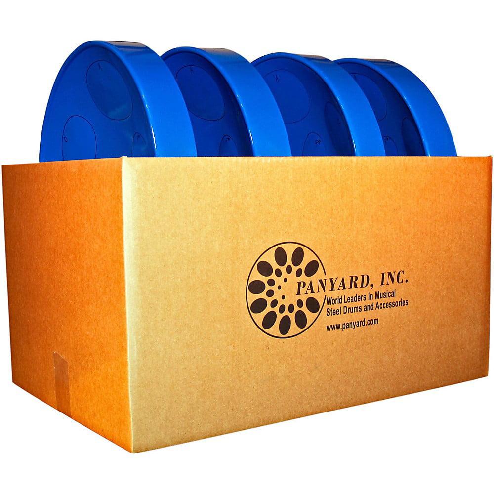 Panyard Jumbie Jam Educator's Steel Drum 4-Pack with Table Top Stands Blue by Panyard