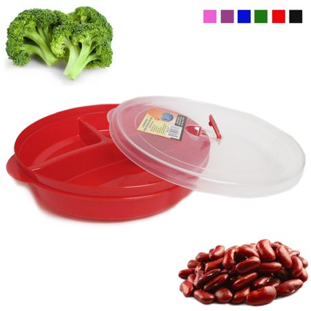Healthy Portion Control Plate BPA Free 3-Section w Lid Dishwasher Microwave Safe