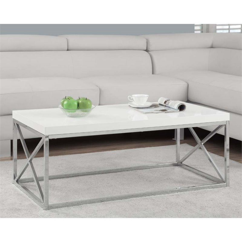 Monarch I 3028 Metal Cocktail Table - Glossy White / Chrome