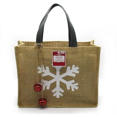 holiday time snowflake burlap christmas tote bag